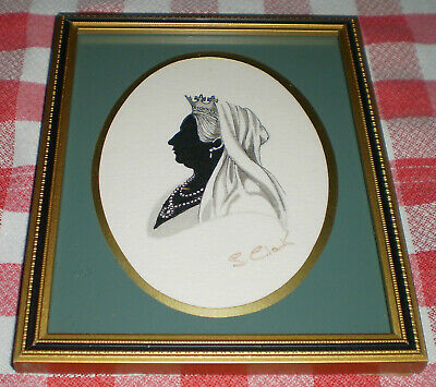 £50 • Buy Queen Victoria Vintage Framed Cameo Silhouette Picture Signed