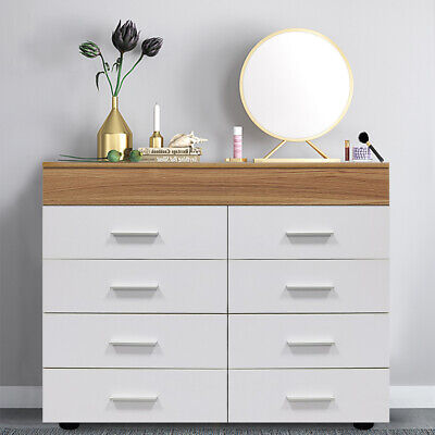 £72.88 • Buy Modern White Chest Of Drawers Sideboard Cabinet Storage 8 Draw Bedroom Furniture