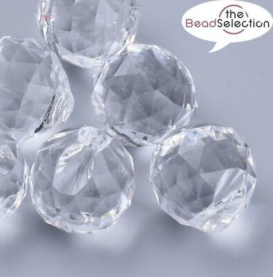 £3.99 • Buy LARGE FACETED CLEAR ACRYLIC ROUND TOP DRILL PENDANT BEADS 40mm ACR201