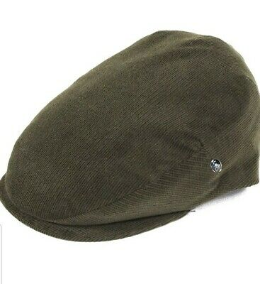 £22 • Buy New City Sport Caps Cord Flat Cap With Leather Strap Olive Size  57