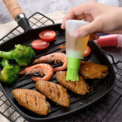 £3.89 • Buy Portable Silicone Oil Bottle With Brush Brushes Grill Oil Baking BBQ Tool UK