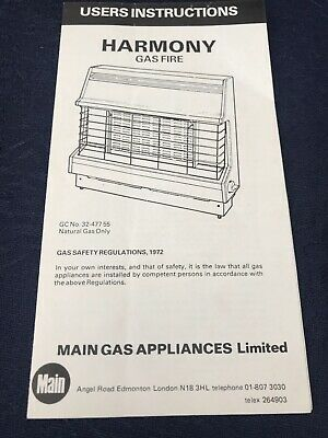 £8 • Buy Vintage Harmony Gas Fire User Instruction Manual