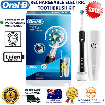 AU101.91 • Buy Oral-B PRO 2 2000 Rechargeable Electric Toothbrush Black Midnight + Travel Case