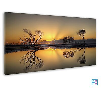 £38.99 • Buy Sun Rising Over Trees And Reflective Water Photo Canvas Print Wall Art Picture