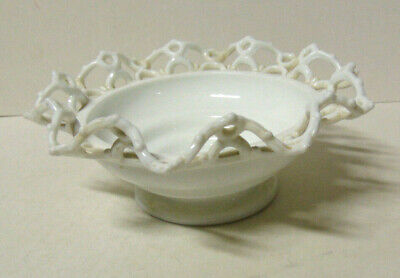$35 • Buy Vintage Fancy Scalloped Lace Edge Milk Glass Bowl 3.25 X 8 Inches Footed