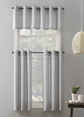 $21.39 • Buy Mainstays Elevated Solid 3 Piece Kitchen Curtain Set