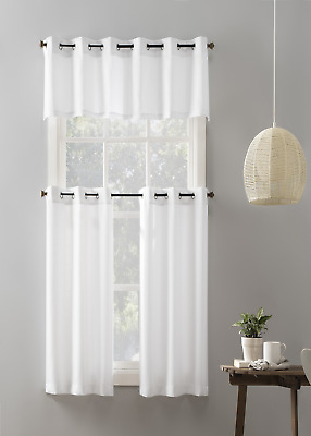 $21.39 • Buy Mainstays Elevated Solid 3 Piece Kitchen Curtain Set, 54  X 36 , White