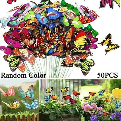 £6.35 • Buy 50 Pcs Colourful Butterfly Butterflies Garden Decoration Ornaments Stakes Patio