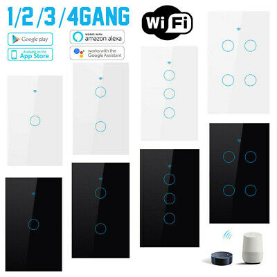 AU32.29 • Buy WiFi Smart Wall Light Home Automation Switch Touch For Alexa Google 1/2/3/4Gang