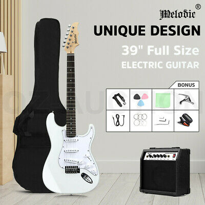 AU169.95 • Buy Melodic 39  Electric Guitar Stratocaster SSS W/25W Amplifier Full Size White