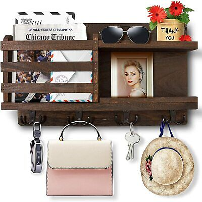 $23.98 • Buy Key Holder Wall Mounted Organizer Mail Rack Key Hooks Wooden Home Decor Brown