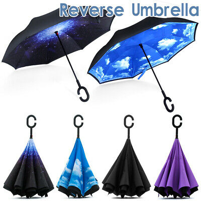 AU16.58 • Buy Windproof Inverted Upside Down Reverse Umbrella C-Handle Double Layer Inside-Out