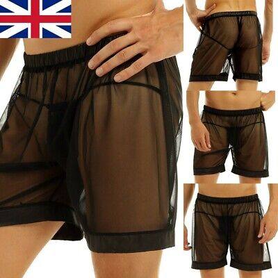 £6.83 • Buy Mens Sexy Trunks Mesh See-through Boxers Briefs Underwear Lingerie Shorts Black