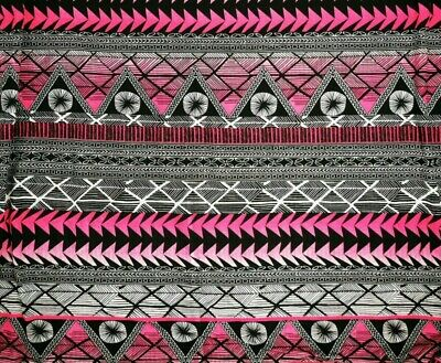 £4.50 • Buy Jersey Cotton Pink, Black & White Aztec Print - Sold By The Metre