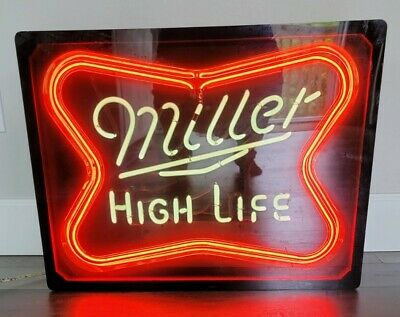 $199 • Buy Vintage 60s-70s Authentic Everbrite Miller High Life Neon Sign In Wood Box NICE!