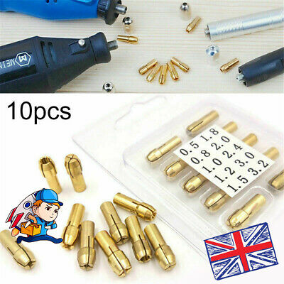 £3.86 • Buy 10Pcs Brass Drill Chuck Collet Bit For Dremel Rotary Tools Adapter 0.5mm-3.2mm