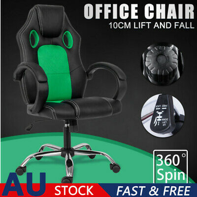 AU111.98 • Buy Gaming Office Chair Durable Racing Executive Footrest Computer Seat PU Leather