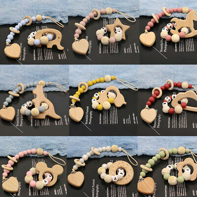 £8.44 • Buy 2PCS Wooden Dummy Clips Personalised Name Baby Pacifier Bracelets Teething Toy