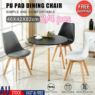 AU97.73 • Buy 2/4 Dining Chairs Kitchen Cafe Seat Home Office Living Room Wood Leg White/Black