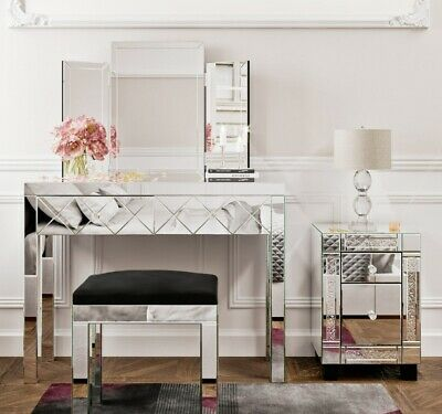 £145.99 • Buy Mirrored Glass Dressing Table Stool Mirror Bedroom Console Bevelled VENETIAN