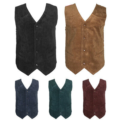 $15.88 • Buy Men's Vest Soft Suede 4 Snap Closure Front Pockets Casual Western Sleeveless Top