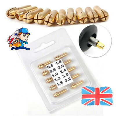 £4.56 • Buy 10x Brass Drill Chuck Collet Bit For Dremel Rotary Tools Adapter 0.5mm-3.2mm