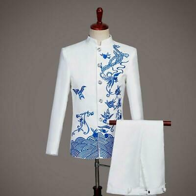 $80.10 • Buy Mens Long Sleeve Single Breasted Chinese Tunic Suit Compere Dress 2 Piece Formal