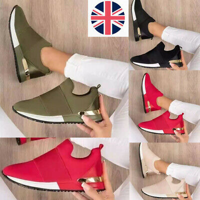 £13.80 • Buy Womens Ladies Slip On Sock Low Wedge Trainers Sneakers Classic Pumps Shoes Size