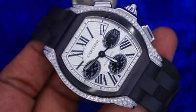 $6500 • Buy Cartier Roadster Chronograph Silver Dial Black Rubber Automatic Mens Watch