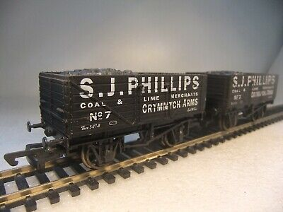 £39.95 • Buy Oo Gauge Dapol 2x 10T 7 Plank Wagons SJ Phillips Coal Crymmych Arms VGC Unboxed