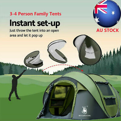 AU128.99 • Buy Instant Up Camping Tent 3-4 Person Pop Up Tents Family Hiking Dome Waterproof