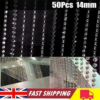 £6.99 • Buy 50xClear Cut Glass Crystals Beads Chandelier Spare Light Parts Bling Drops Kits