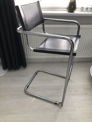 £67 • Buy Vintage Black Leather And Chrome Marcel Breuer Style Cantilever Chair / Stool