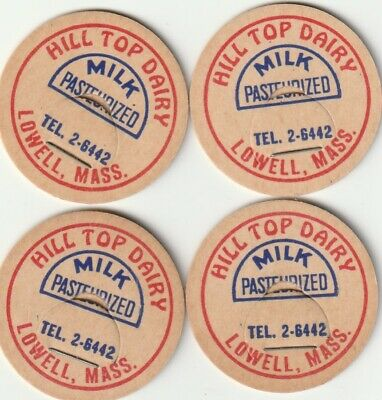 $2.49 • Buy Lot Of 4 Milk Bottle Caps. Hill Top Dairy. Lowell, Ma.