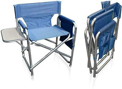£52.95 • Buy Camping Folding Alloy Sports Directors Chair With Pockets And Side Table Blue