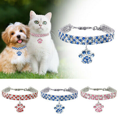 £4.99 • Buy Pet Rhinestone Diamante Collar Necklace Puppy Kitten Bling Paw Crystal Accessory