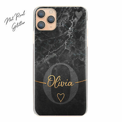 AU15.49 • Buy Personalised Initial Phone Case, Grey Heart On Black Marble Hard Cover With Name