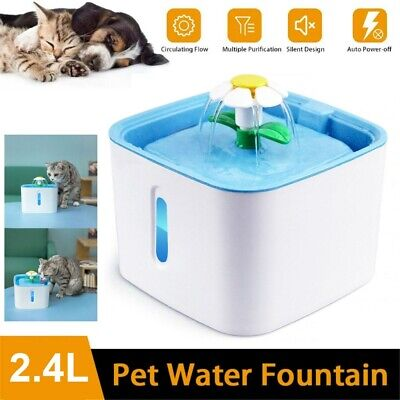 £14.98 • Buy Automatic Electronic Pet Cat Dog Water Drinking Fountain Bowl Filter Flower 2.4L