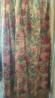 £65 • Buy Sanderson Beautiful Floral Classic Vintage Pair Curtains Lined Roses Peony 72inL