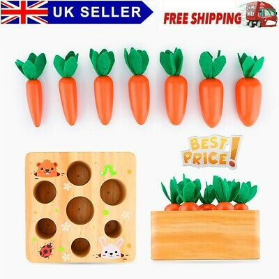 £13.49 • Buy Wooden Montessori Toys Carrot Shape Sorter Size Sorting Counting Puzzle Game UK