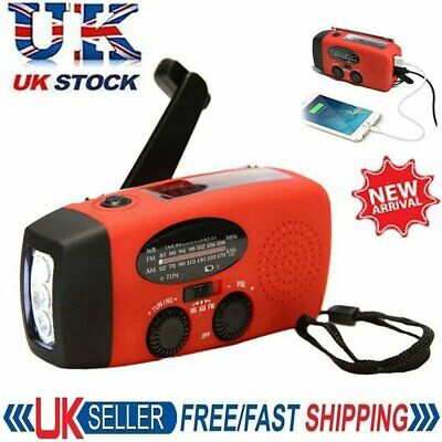 £13.93 • Buy Hand Crank Dynamo Wind Up Solar Portable AM FM Radio USB Charger Light Torch Red