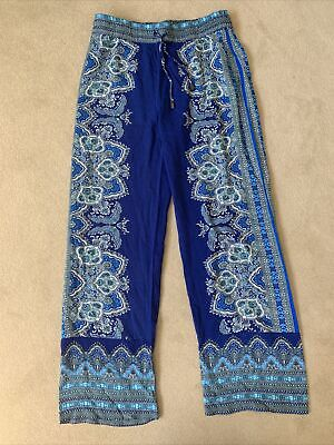 £9.99 • Buy Womens - Artisan NY - Harem Lightweight Patterned Blue Trousers - Size L