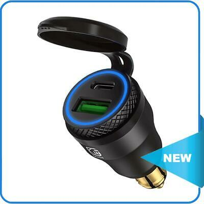 £10.29 • Buy DIN Plug To QC3.0 + PD USB Charger W/ LED Light For Motorcycle (Black+Blue) ✨