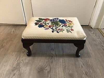 £40 • Buy Vintage Foot Stool Foot Rest Seat With Embroidered Floral Top & Queen Anne Legs