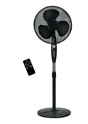 £31.99 • Buy NEW 16  Oscillating Black Extendable Pedestal Cooling Fan With Remote, 3 Speeds