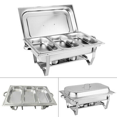 £43.50 • Buy 3pans Chafing Dish Set Stainless Steel 9 L Party Cater Food Warmer Fuel