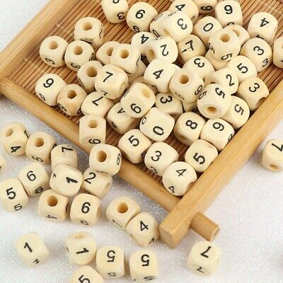 £5.79 • Buy 10mm Wooden Alphabet Letter DIY Beads Baby Teether For Jewelry Making  100pc New