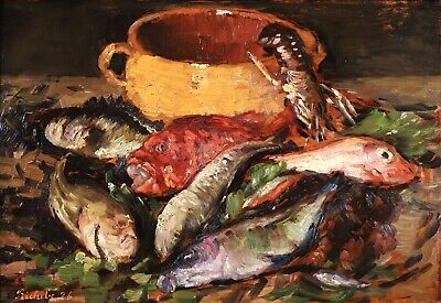 £67 • Buy Horace Richebe (1871-1958) Huge Signed French Still Life Oil - Shellfish & Fish