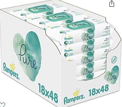 £41.99 • Buy Pampers Aqua Pure Baby Wipes 18 Packs = 864 Baby Wipes