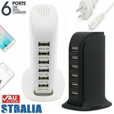 AU19.99 • Buy 30W 6 Multi USB Port Travel Charger Desktop Charging Station Fast Power Adapter